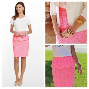 Lilly Pulitzer Peplum Skirt Gingham Plaid Size 2